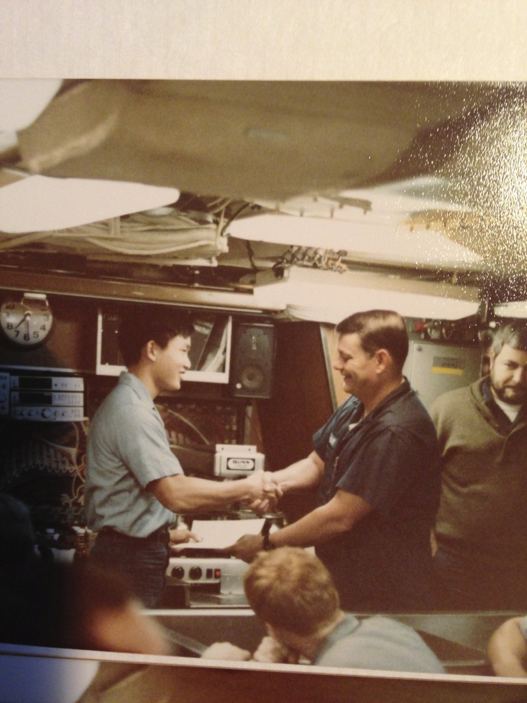 Captain Douglas Wright awarded me my Dolphins on August 21, 1983, while underway on nuclear power.