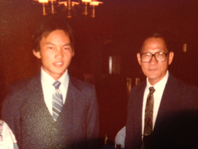 With my Dad, Dale Yee, at my going away party before I went to Navy boot camp (August 1980).