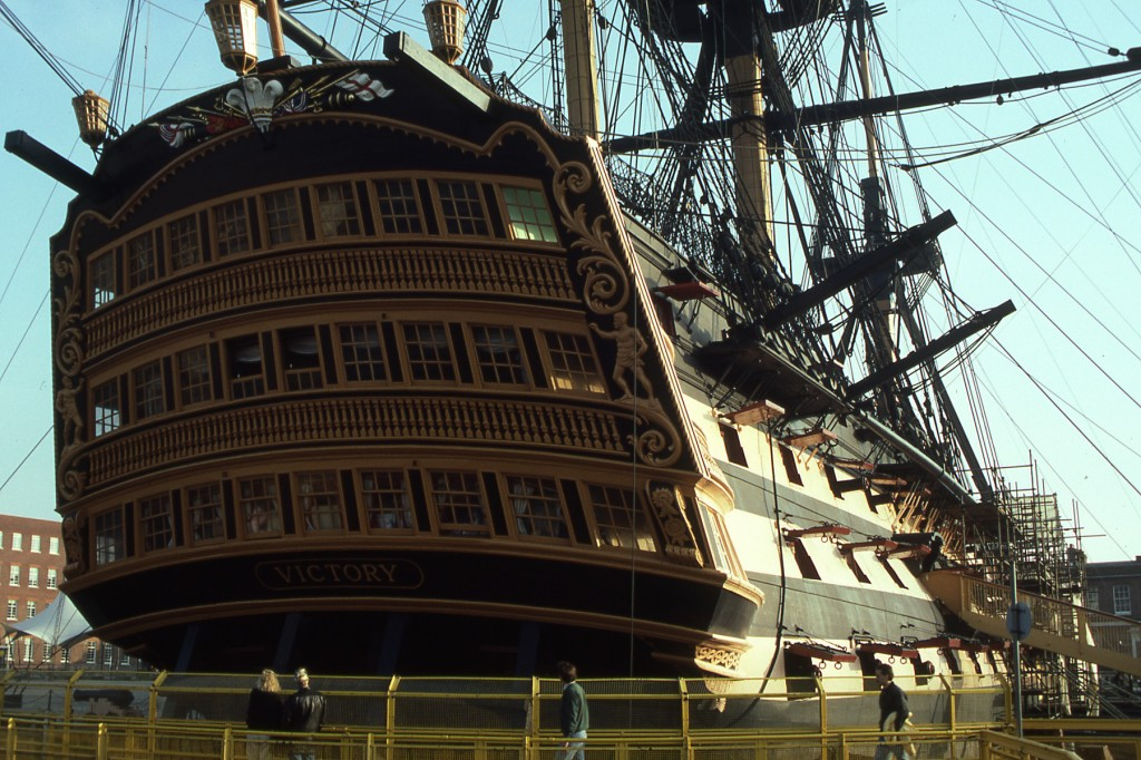 HMS Victory in Portsmouth Naval Shipyard -1989 photo by Challen Yee