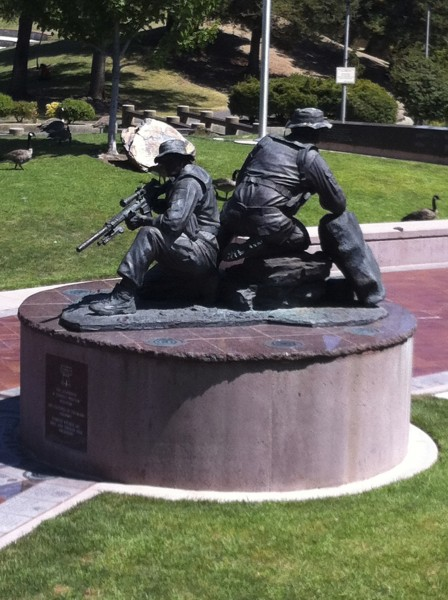 Navy SEAL's James Suh and Matt Axelson. Operation Red Wings Memorial, Cupertino (Matt Axelson's home town) California (photo: Challen Yee).