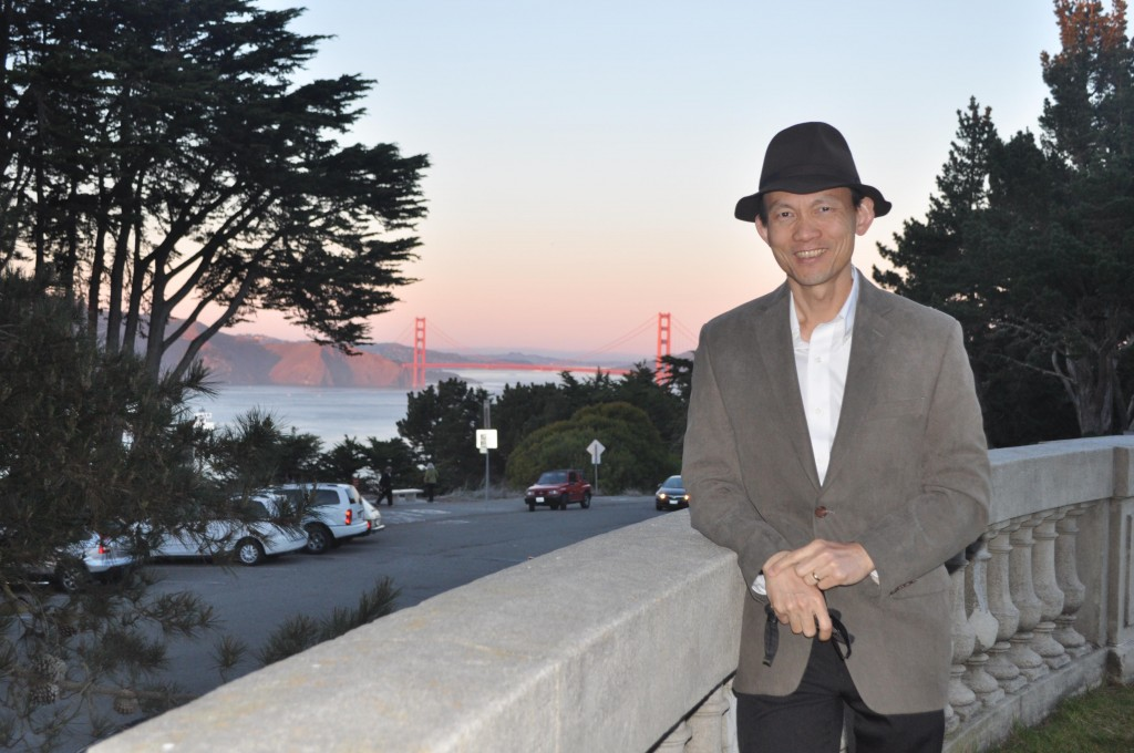 Outside the Legion of Honor with the Golden Gate as a backdrop (1-5-14) photo by Leona Yee