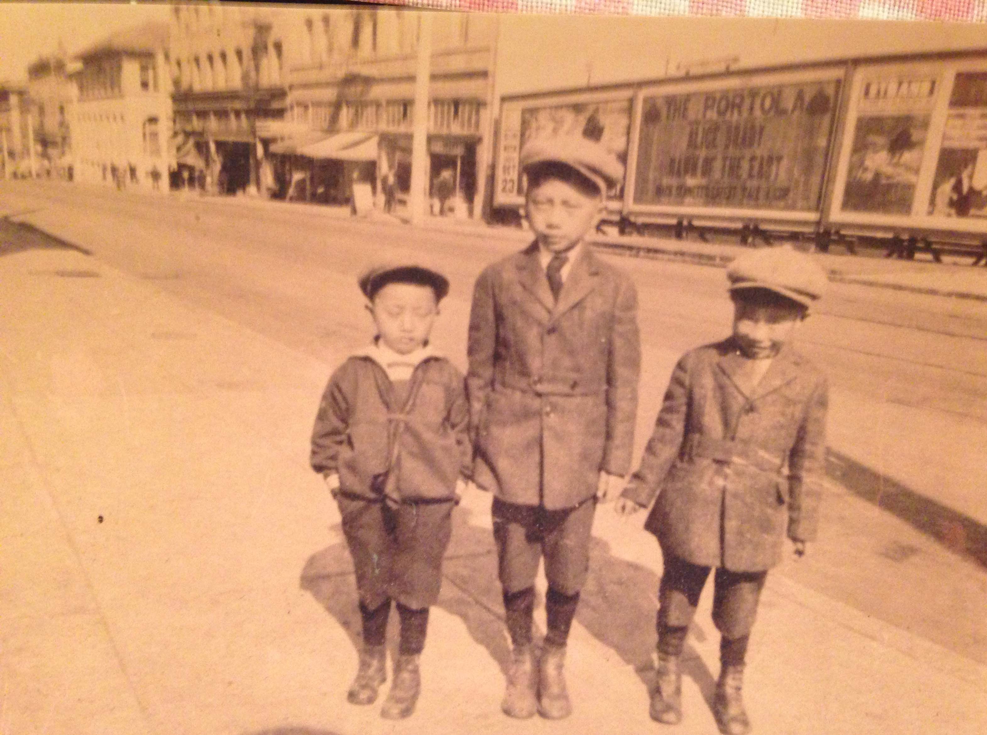 My uncles, Francis and Stanley Jong, with their cousin, Eddy on a San Francisco street in 1920. Source: Roberta Yee collection