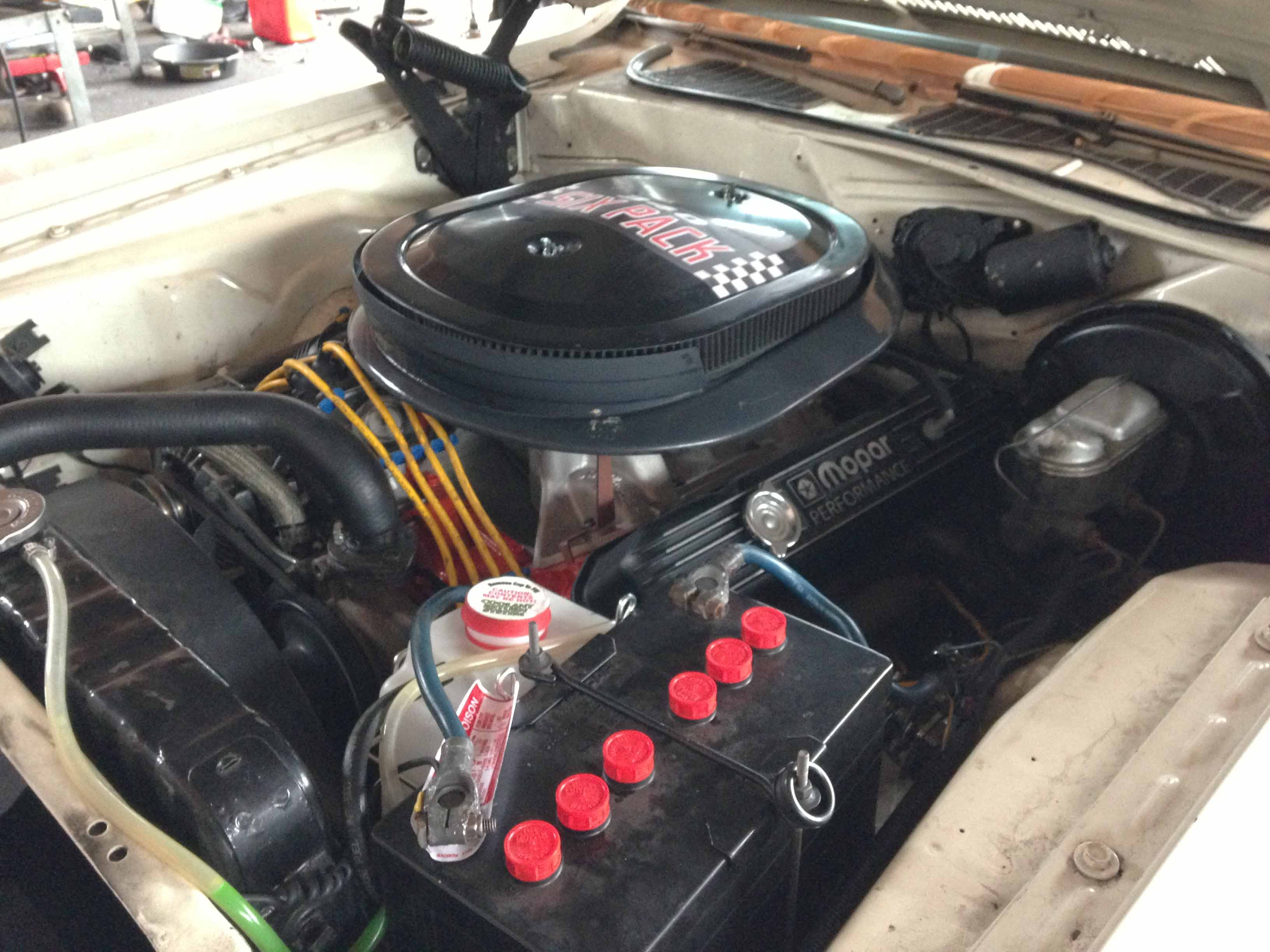 440 Six Pack. How do you like my O'Rielly's catch can? Hey, it works better than spewing coolant all over the driveway.