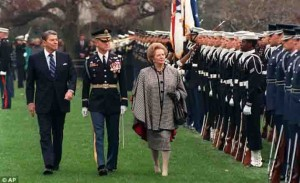 President Reagan and Prime Minister Thatcher reviewing troops. Image Credit: AP