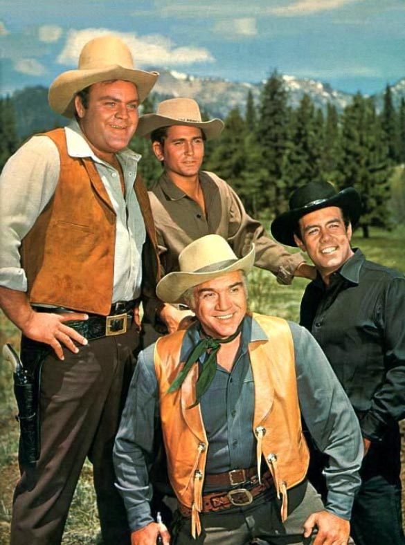 "Owners of the great Ponderosa. Mr. Ben Cartwright and sons, Eric ""Hoss"" Cartwright, Joseph ""Little Joe"" Cartwright, and Adam Cartwright. The characters played by (front) Lorne Greene and (l to r) Dan Blocker, Michael Landon and Pernell Roberts. The Ponderosa is a massive property taking up most of the north east region around Lake Tahoe. Nevada."