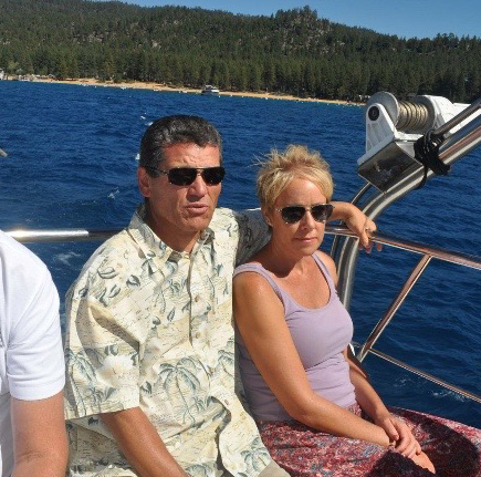 Rich Crombie and his friend Kathleen on the Bleu Wave cruise on Lake Tahoe.